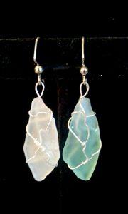 Aqua & Ice Seaglass, Beach Gem Earrings